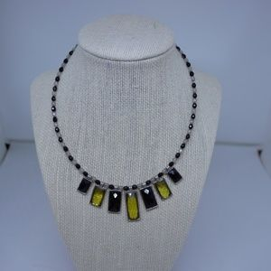 Vintage 90's Square Beads Necklace Black/Green